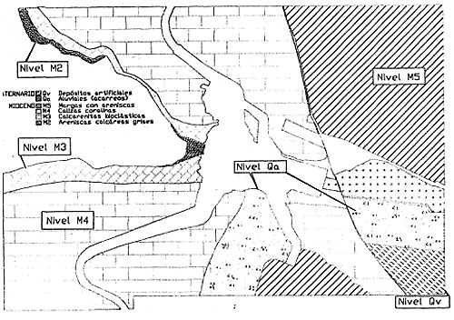 Drawing of the geological ground plan of the downstream boundary for the storage area