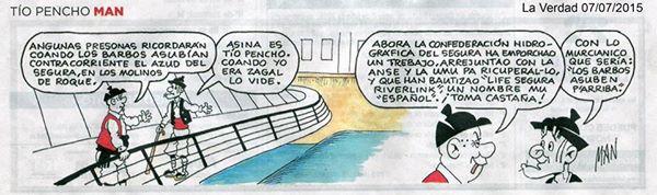 Ver la imagen en tamaño real. La tira cómica del tío Pencho y su preocupación por los barbos en el blog de Miguel Ángel Ruiz